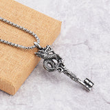 Stainless Steel Dragon Key Necklace