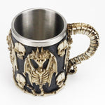 Dragon Mug with Bones and Skulls