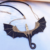 Black and Golden Flying Dragon Necklace