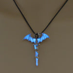 Blue Glowing Dragon Necklace