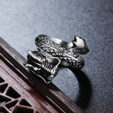 Steel Ring with a Japanese Dragon