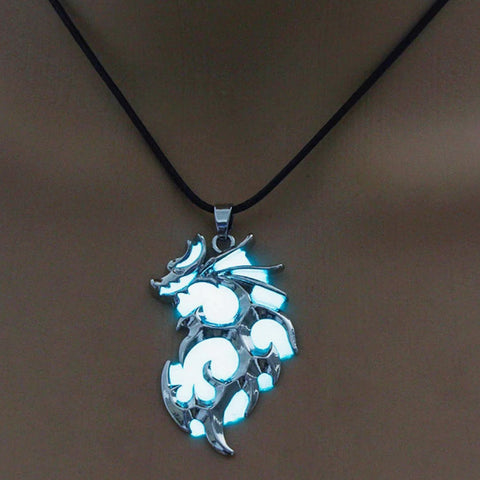 Luminous Dragon Necklace in Blue