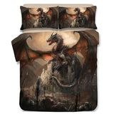 A bedding with a dragon defending a medieval castle
