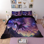 Purple Dragon Bedding in a bedroom