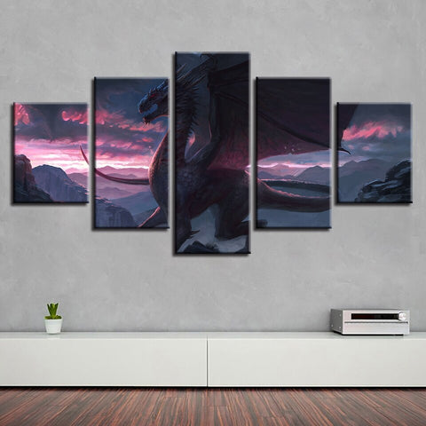Purple Sunset Dragon Wall Art
