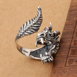 Silver Raging Dragon Ring