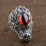 925 Silver Chinese Dragon Head Ring