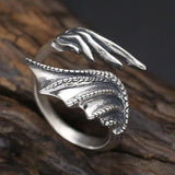 Silver Ring with a Dragon Wing
