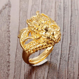Gold-plated Dragon Head Ring