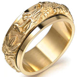 Rotatable Dragon Ring in Gold