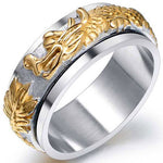 Rotatable Dragon Ring in Silver & Gold