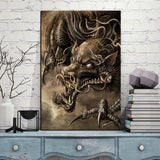 Scary Chinese Dragon Wall Art