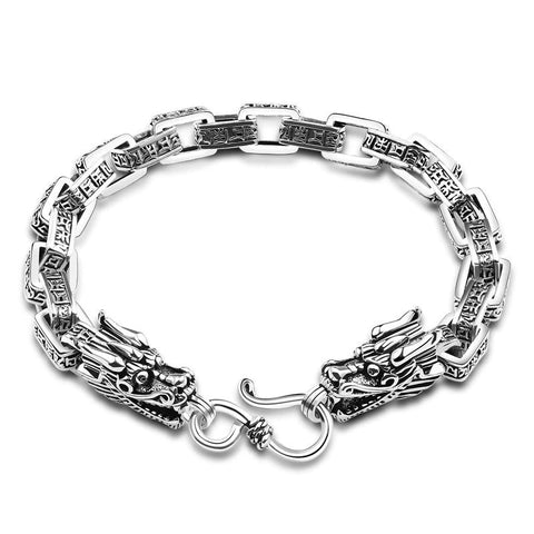Silver Double Dragon Bracelet
