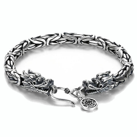 Silver Double Headed Dragon Bracelet
