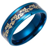 Chinese Dragon Ring in Blue