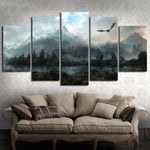 5 piece canvas representing the Land of Dragons