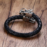 Leather Bracelet with Twin Chinese Dragons