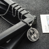 Yin Yang Dragon Necklace (Steel)