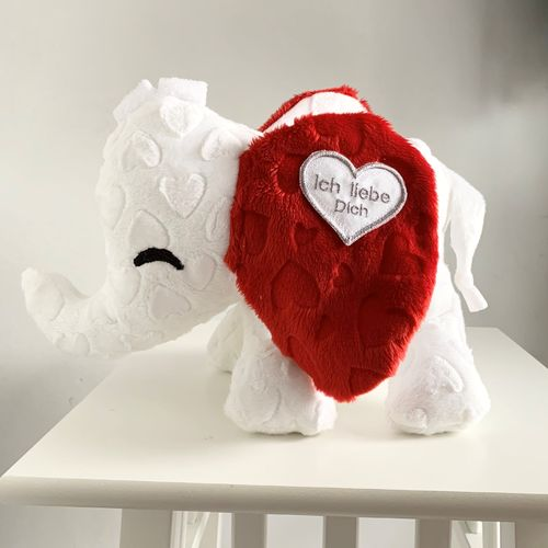 "Babyelefant ""white Hearti"" Red Hearts"