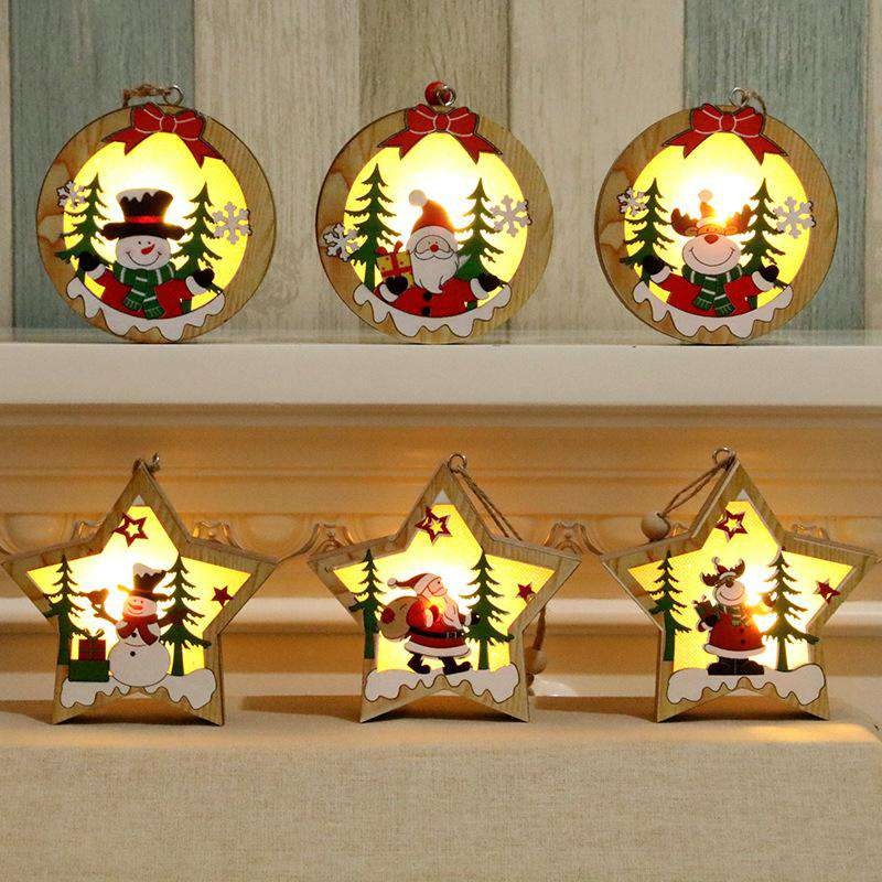 Christmas Decorations Wooden Luminous Christmas Tree Pendants - Deep Sapphire,Light Yellow,Multi,Gold,Green,Coffee | Deal Mission