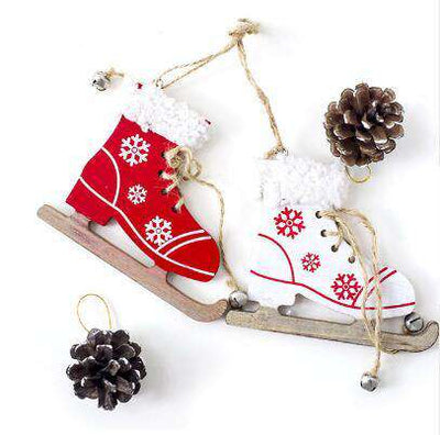 Christmas Snowflake Pattern Wooden Sleds Boots Decoration - Default Title | Deal Mission