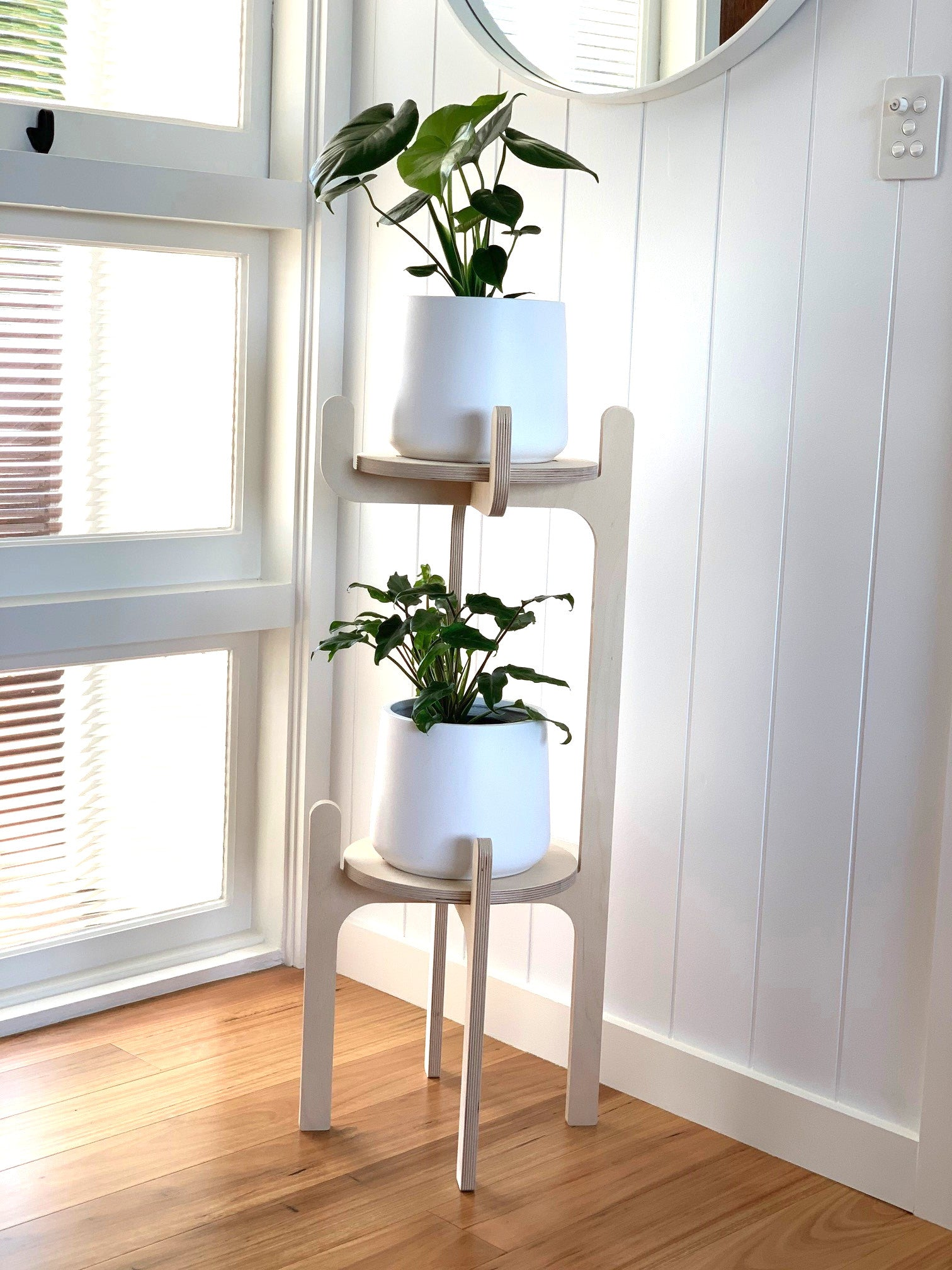 IsoKing Pot Plant Double Pot Plant Stand - Natural Birch