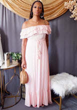 Load image into Gallery viewer, Off the Shoulder Maxi Dress w/Tassel Belt (Blush Pink)