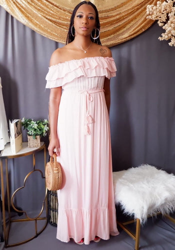 Off the Shoulder Maxi Dress w/Tassel Belt (Blush Pink)