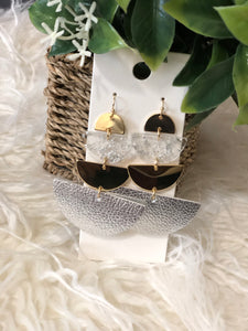 4 link half moon earrings (Silver & Gold)