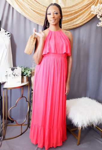 Ruffled Overlaid Maxi (Red)