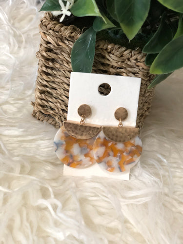 Antique Granite Earrings (white & orange)