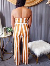 Load image into Gallery viewer, Striped Halter Jumpsuit (Carmel and White)