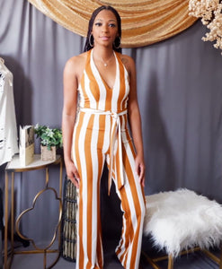 Striped Halter Jumpsuit (Carmel and White)