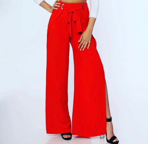 Waisted-Tie, Wide Leg Trousers