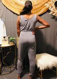 V neck Tie Front Jumpsuit (Chargray)