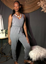 Load image into Gallery viewer, V neck Tie Front Jumpsuit (Chargray)