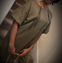 Load image into Gallery viewer, Puff Sleeve T-Shirt Dress (olive)