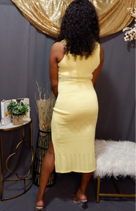 Sleeveless Mesh Insert Dress (Yellow)
