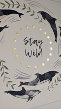Load image into Gallery viewer, 'Stay Wild' White And Gold Dolphin Fine Art Print