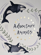 Load image into Gallery viewer, 'Adventure Awaits' White And Gold Orca Fine Art Print