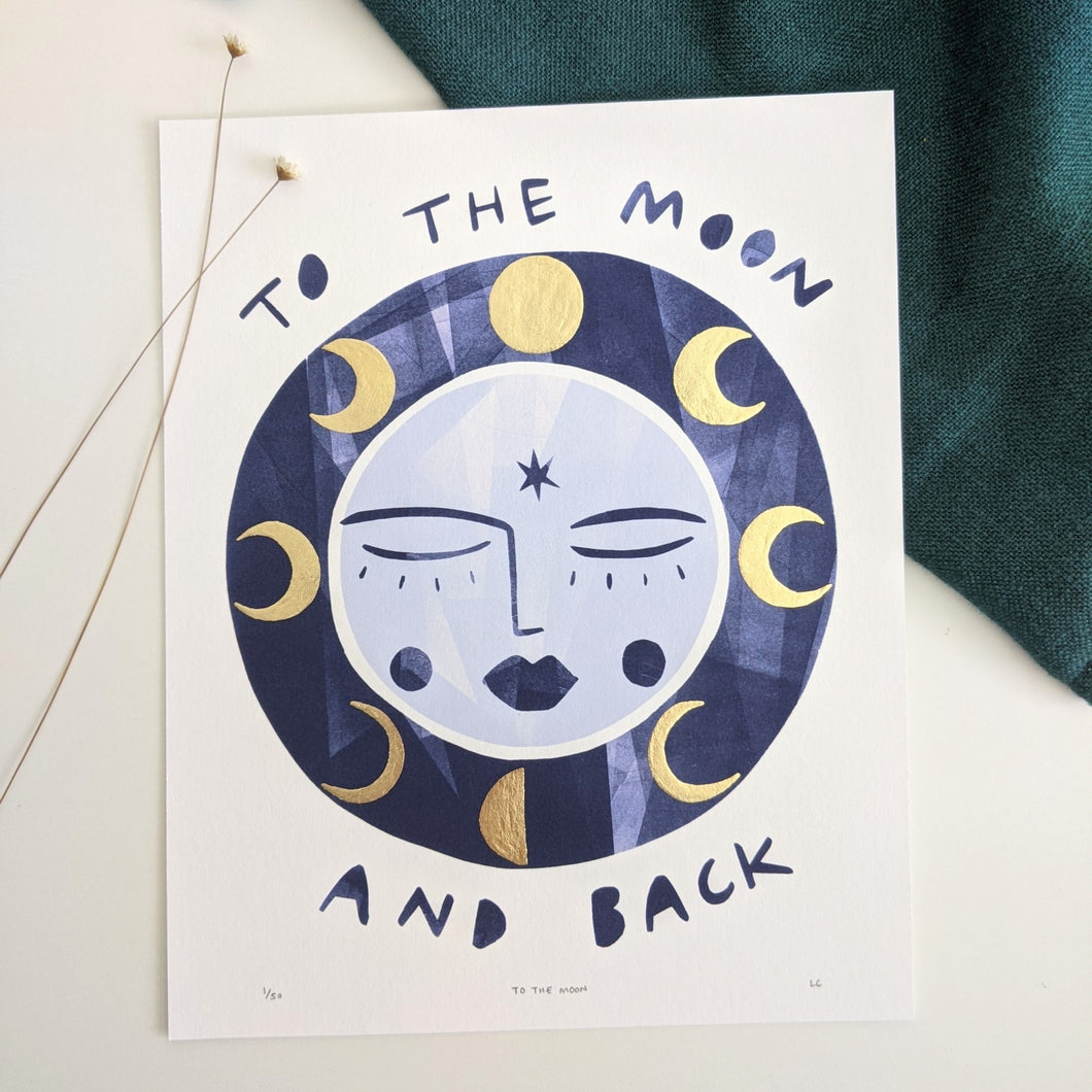 'To The Moon And Back' Hand Embellished Gold Leaf Moon Limited Edition Fine Art Print