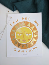 Load image into Gallery viewer, 'You Are My Sunshine' Hand Embellished Gold Leaf Sun Limited Edition Fine Art Print