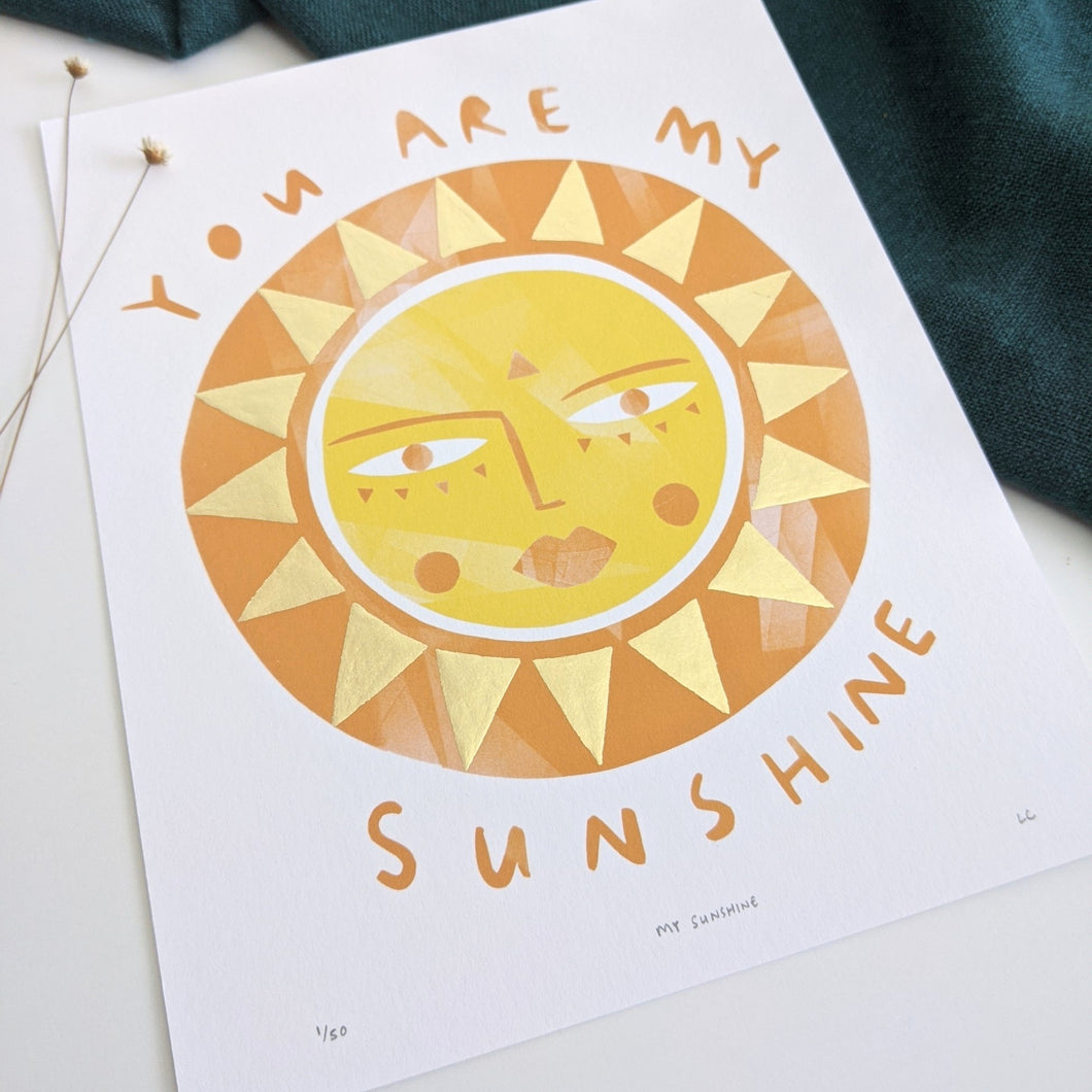 'You Are My Sunshine' Hand Embellished Gold Leaf Sun Limited Edition Fine Art Print