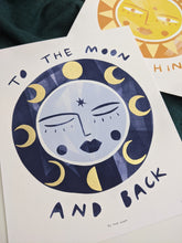 Load image into Gallery viewer, 'To The Moon And Back' Hand Embellished Gold Leaf Moon Limited Edition Fine Art Print