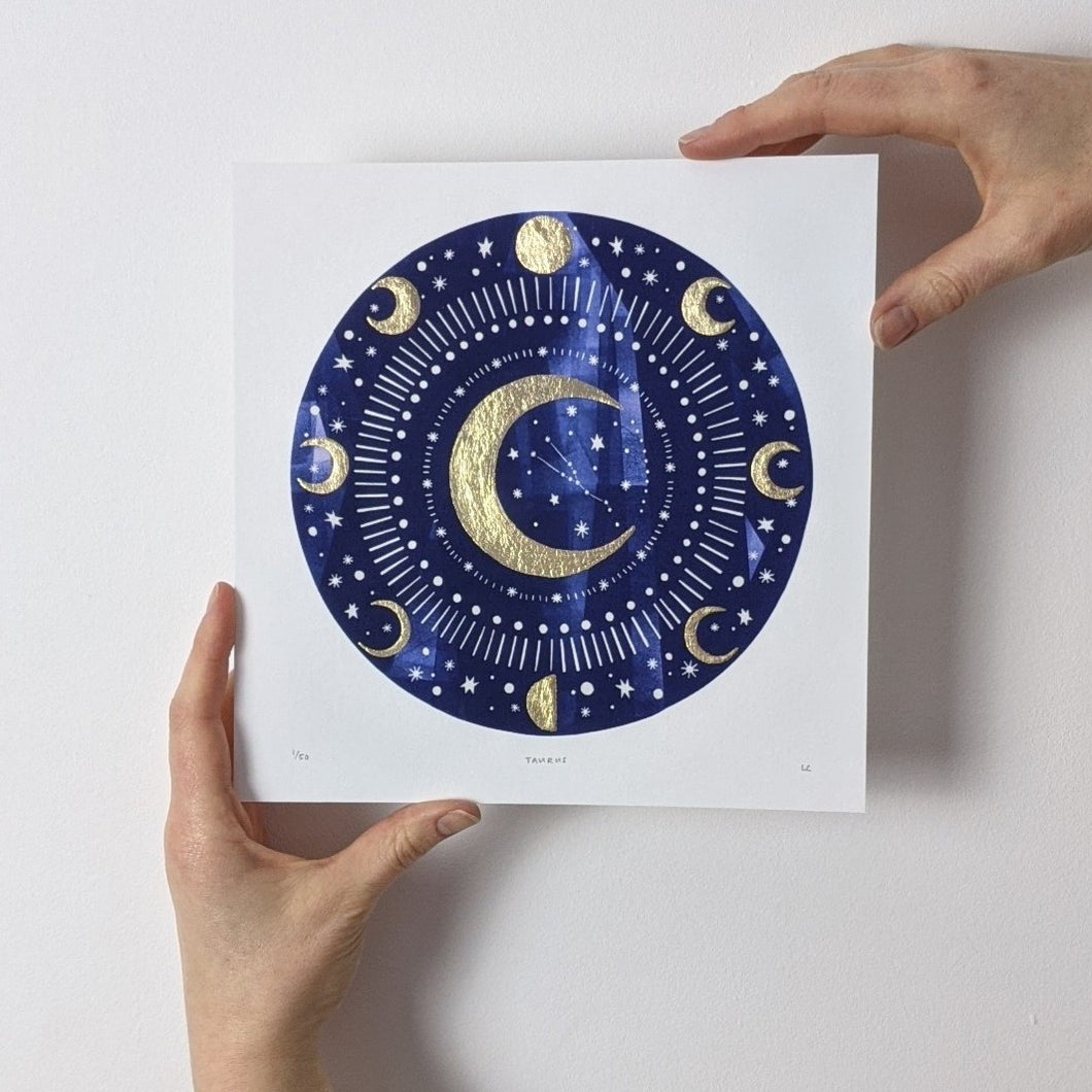 Personalised 'Zodiac Moon' Decorative Moon And Zodiac Constellation Limited Edition Fine Art Print