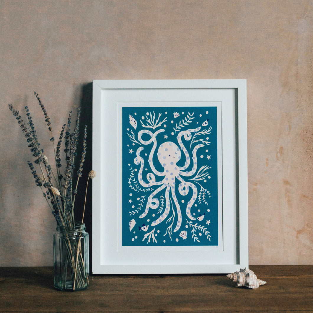 'Occy Octopus' Friendly Sea Creature Fine Art Print For Children