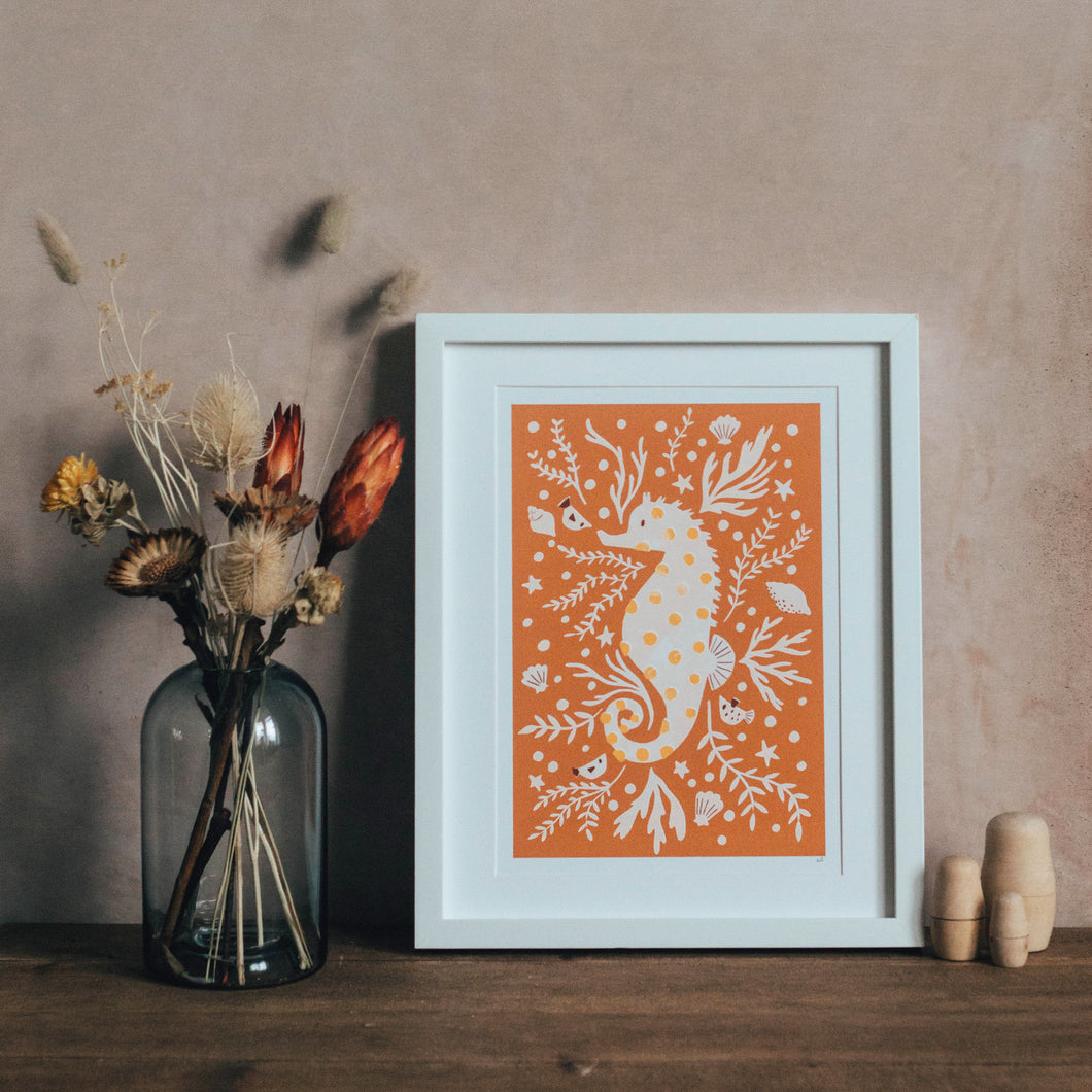 'Sami Seahorse' Friendly Sea Creature Fine Art Print For Children
