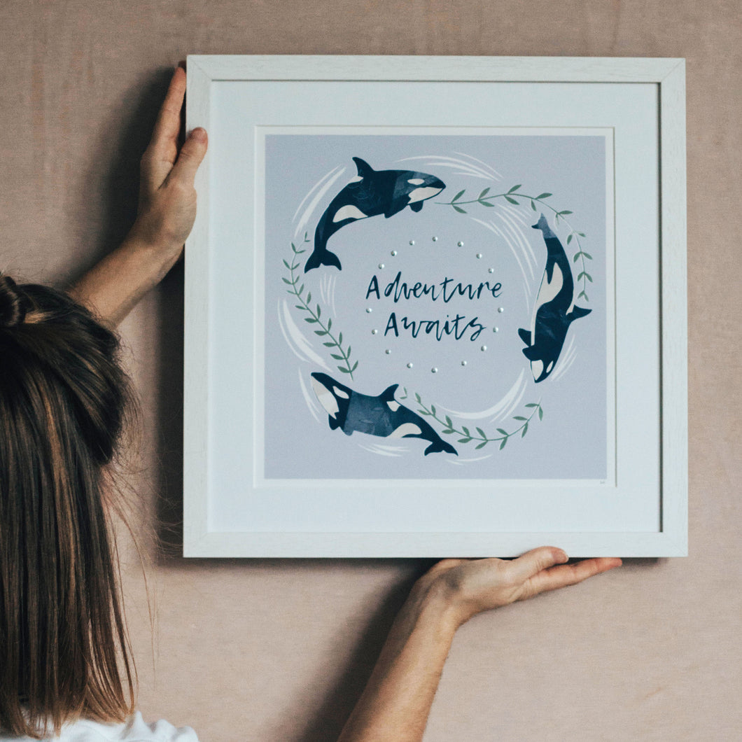 'Adventure Awaits' Lilac And Silver Orca Fine Art Print