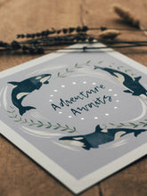 Load image into Gallery viewer, 'Adventure Awaits' Lilac And Silver Orca Fine Art Print