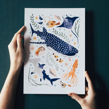 Load image into Gallery viewer, 'Deep Blue Sea' Whale Shark, Hammerhead And Sea Creatures Fine Art Print For Children